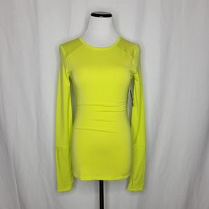 JoyLab Activewear LS Shirt Thumbholes Lime Yellow